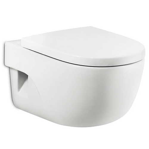 Roca Meridian-N Compact Wall Hung Toilet - Soft Close Seat - White